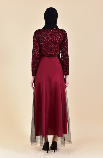 Red Islamic Clothing Evening Dress 3851-12
