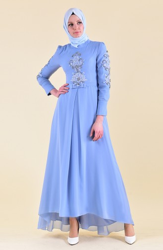 MISS VALLE  Pearls Evening Dress 8901-03 Blue 8901-03