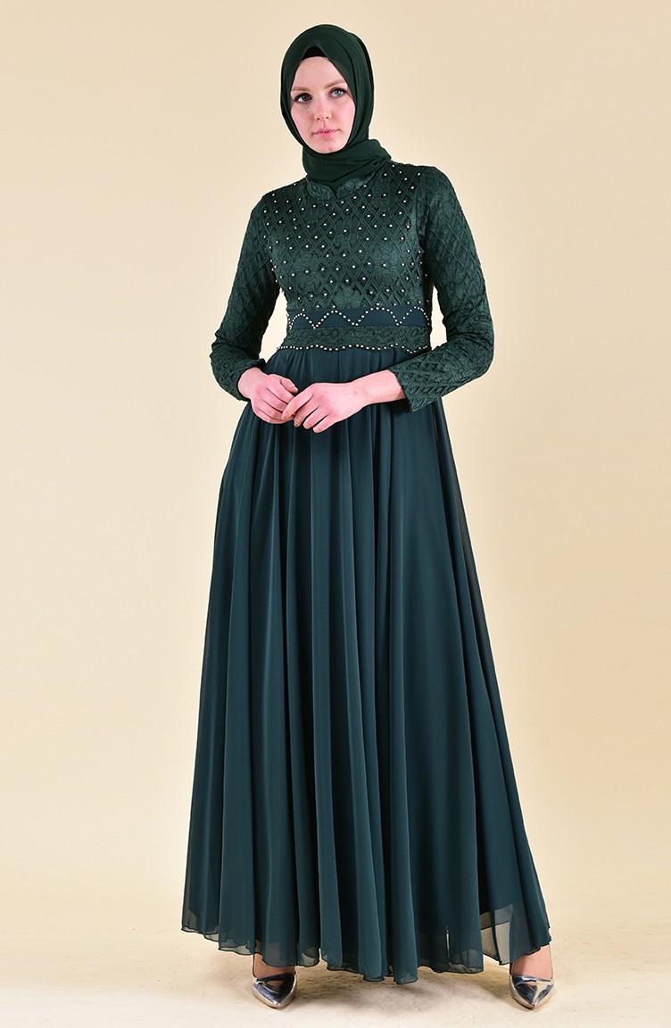 Abendkleid mit Spitze 13-13 Smaragdgrün 13-13