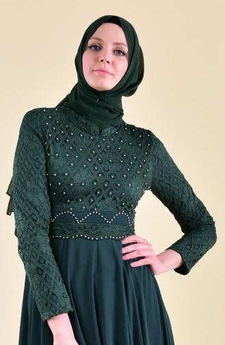 Robe de Soirée a Dentelle 8951-04 Vert emeraude 8951-04