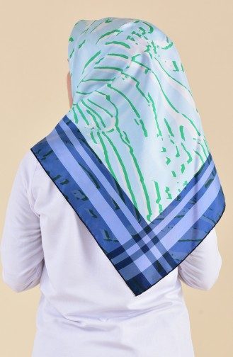 Patterned Silk Scarf 95249-03 Jeans Blue 95249-03