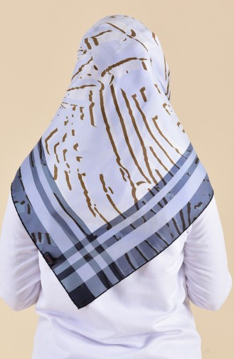 Patterned Silk Scarf 95249-06 Gray 95249-06