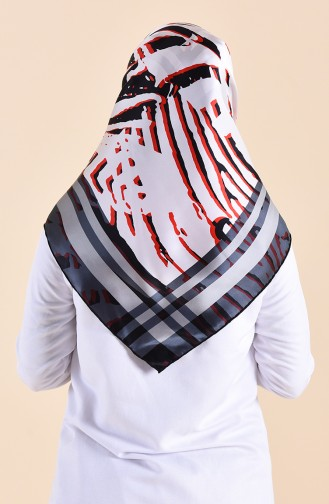 Patterned Silk Scarf 95249-08 Black 95249-08