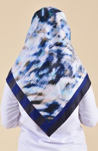 Patterned Silk Scarf 95250-02 Blue 95250-02