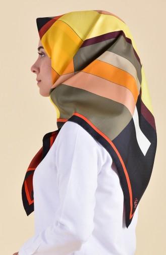 Patterned Silk Scarf 95253-03 Black Orange 95253-03