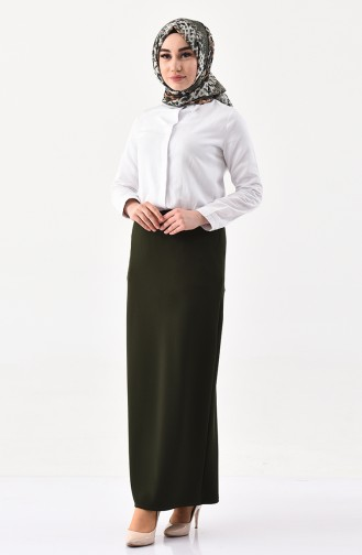iLMEK Elastic Waist Pencil Skirt 5059-15 Khaki Green 5059-15