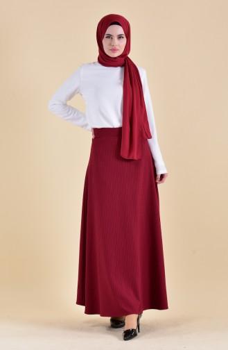 Striped Crepe Skirt 8148-02 Bordeaux 8148-02