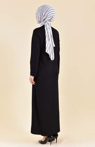 Zippered Abaya 7896-01 Black 7896-01
