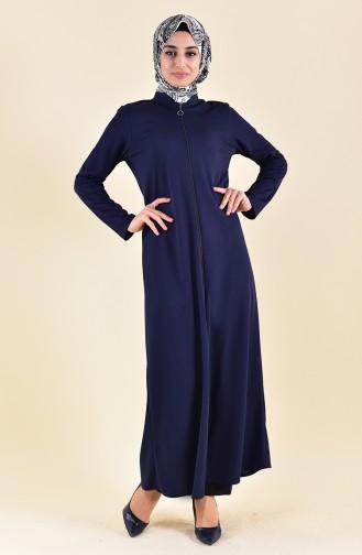 Zippered Abaya 7896-02 Navy Blue 7896-02