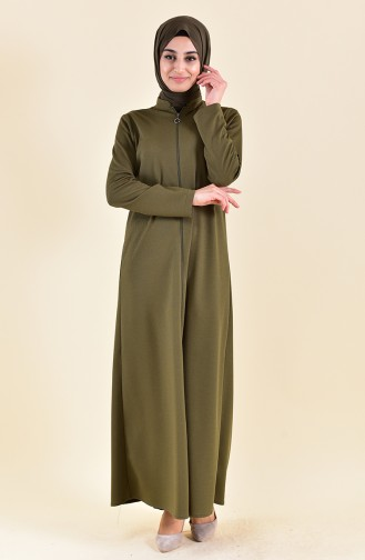 Abaya a Fermeture 7896-03 Khaki 7896-03