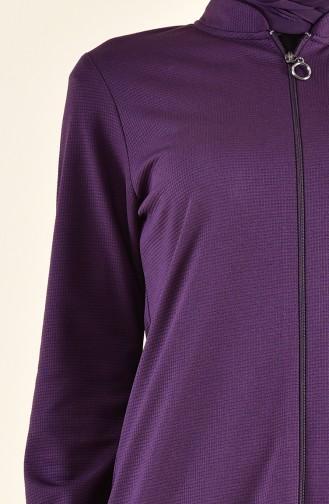 Zippered Abaya 7896-04 Purple 7896-04