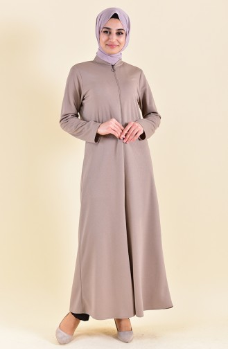 Zippered Abaya 7896-06 Mink 7896-06