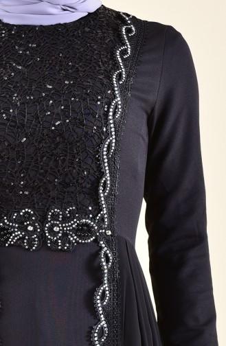 Payet Detaylı Abiye Elbise 52716-01 Siyah