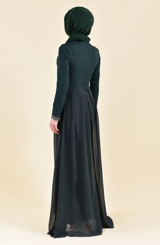 Payet Detaylı Abiye Elbise 52716-04 Yeşil
