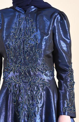 Robe de Soirée Taffetas Bordée de Perles 0019-01 Bleu Roi 0019-01