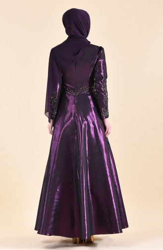 Beading Embroidered Taffeta Evening Dress 0019-02 Purple 0019-02