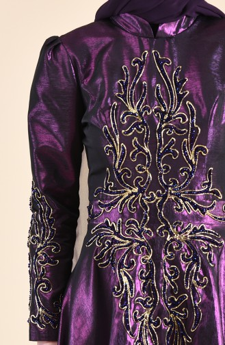 Robe de Soirée Taffetas Bordée de Perles 0019-02 Pourpre 0019-02