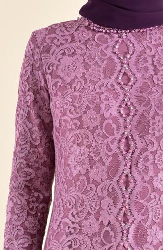 Robe de Soirée a Dentelle 1165-05 Rose Pâle 1165-05