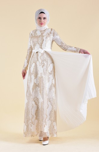 Pleated Detailed Lace Evening Dress 8384-05 light Beige 8384-05