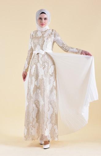 Pilise Detaylı Dantelli Abiye Elbise 8384-05 Ekru 8384-05