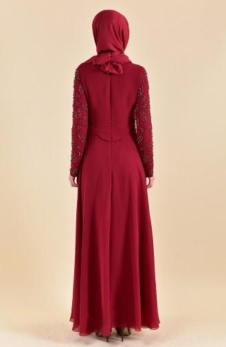 Robe de Soirée Perlées 8501-06 Bordeaux 8501-06