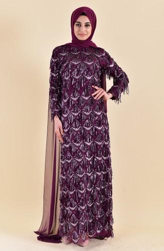 Sequin Tasseled Evening Dress 4113-02 Plum 4113-02