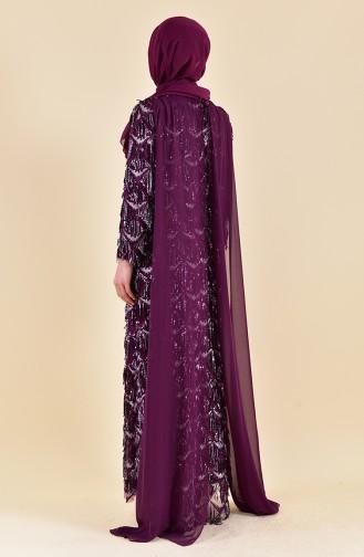 فستان سهرة بتفاصيل من الشراشيب والترتر 4113-02 لون ارجواني 4113-02