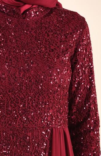 Claret Red Hijab Evening Dress 4115-03