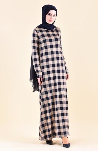 فستان كاجوال بتصميم مُطبع 99182-01 لون كحلي وبيج 99182-01