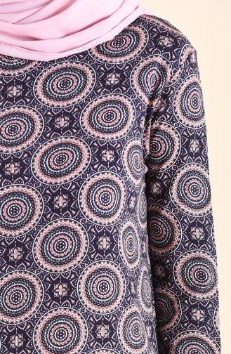 فستان كاجوال بتصميم مُطبع 99182A-01 لون كحلي 99182A-01