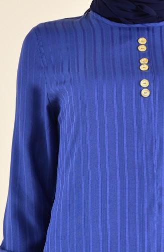 Button Detailed Viscose Tunic 0367-05 Indigo 0367-05