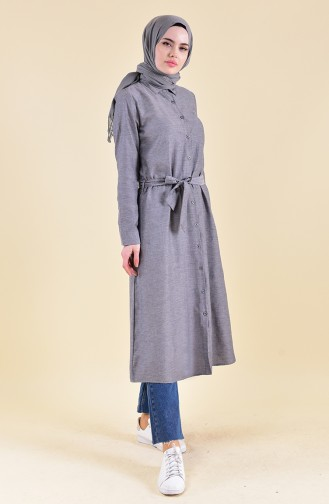Minahill Buttoned Belted Tunic 8204-12 Gray Black 8204-12