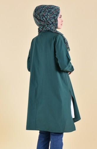 Gizli Düğmeli Yırtmaçlı Tunik 6421-09 Zümrüt Yeşil