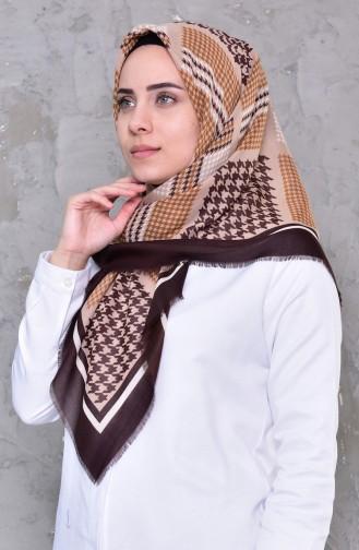 Desenli Çekme Cotton Eşarp 2191-13 Mürdüm 2191-13