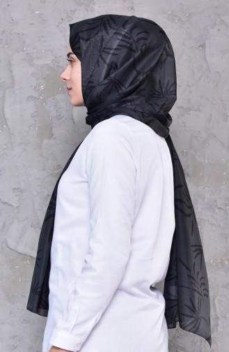 شال قطن بتصميم مُطبع 95256-01لون اسود مائل للرمادي 95256-01