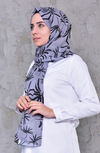شال قطن بتصميم مُطبع 95256-04 لون رمادي 95256-04
