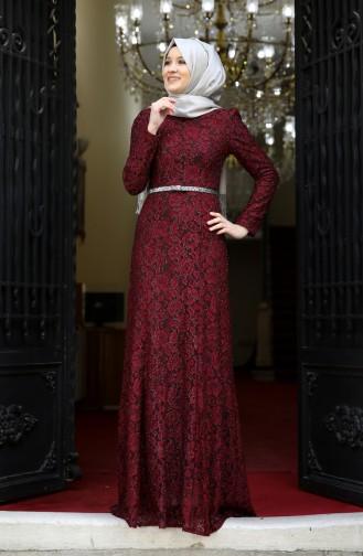 Lace V-neck Evening Dress 3206-01 Bordeaux 3206-01