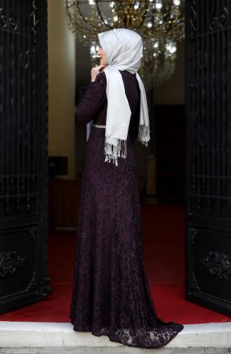 Lace Overlay Evening Dress 3206-04 Purple 3206-04