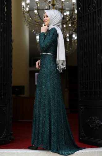 فستان سهرة بتصميم حزام للخصر 3190-01 لون اخضر زمردي 3190-01