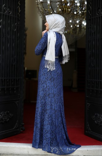 Dantel Kaplama Abiye Elbise 3206-07 İndigo