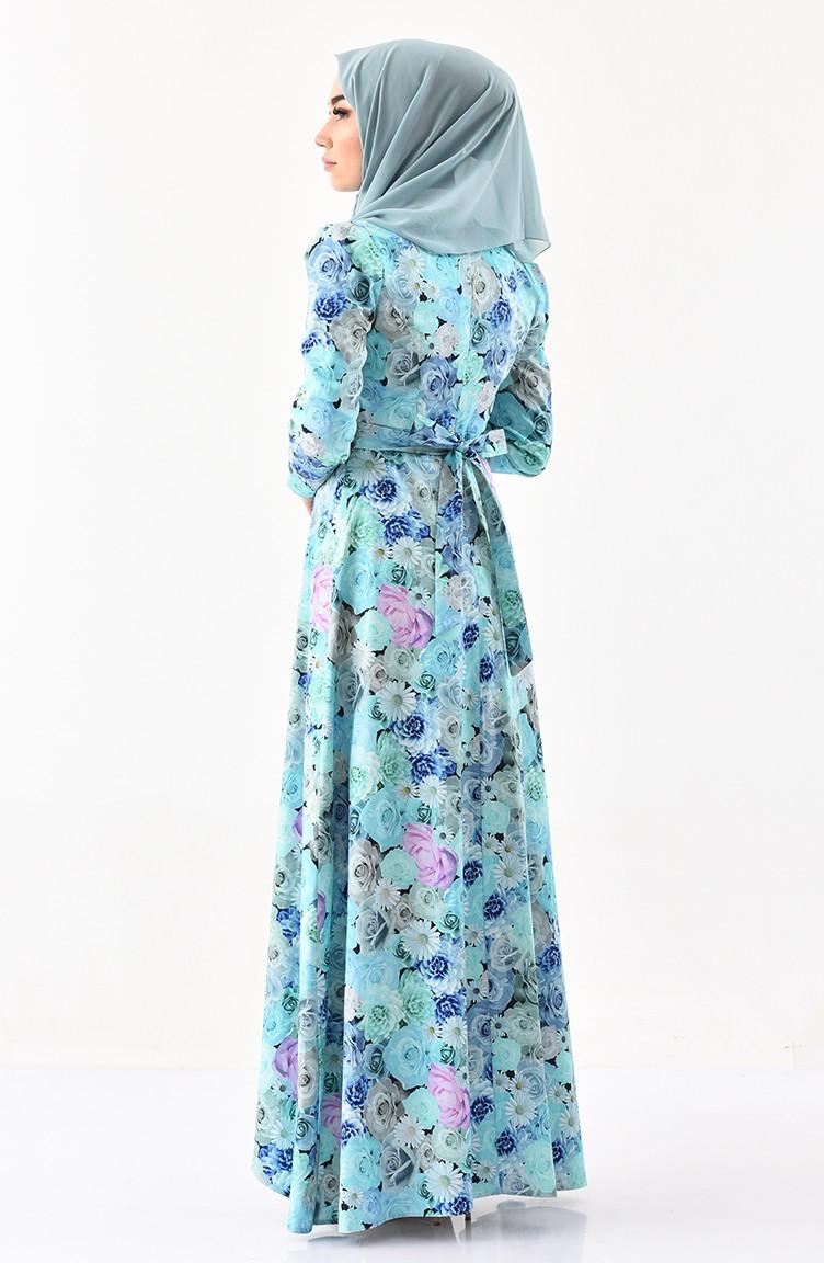 d44a90012 زين فستان مُطبع بتصميم حزام للخصر 0223-01 لون أخضر فاتح 0223-01
