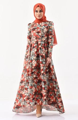 ZEN Patterned Belted Dress 0224-01 Green Taba 0224-01