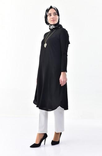 Kolyeli Krep Tunik 0264-06 Siyah