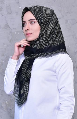 Patterned Cotton Shawl 2192-10 Black light Khaki 2192-10