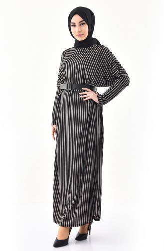 CAVANE Striped Abaya 9017-04 Black 9017-04