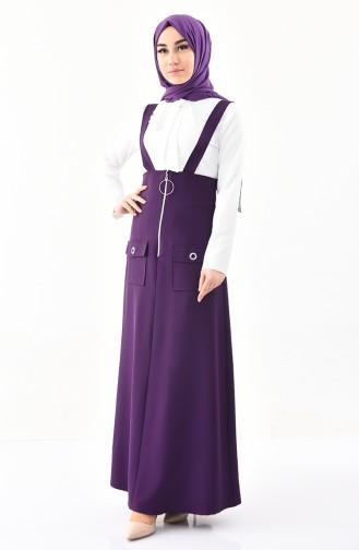 طقم قميص وفستان سالوبيت 4516-03 لون بيج فاتح وبنففسجي 4516-03