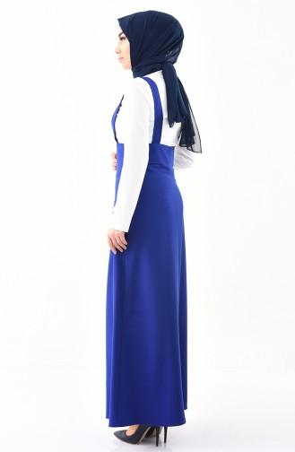طقم قميص وفستان سالوبيت 4516-08 لون بيج فاتح وازرق 4516-08
