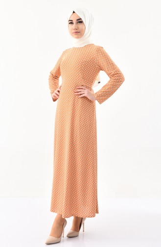 Desenli Elbise 1131-05 Koyu Hardal
