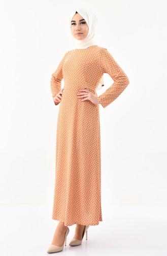 دلبر فستان بتصميم مُطبع 1131-05 لون اصفر داكن 1131-05