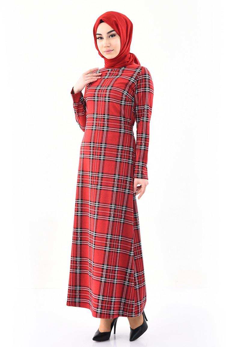 46de4ccb9eecc Ekose Desenli Elbise 1143-02 Bordo